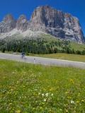 Cyclist and Sassolungo Group, Sella Pass, Trento and Bolzano Provinces, Italian Dolomites, Italy Fotografisk trykk av Frank Fell