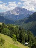 View of Mountains, La Plie Pieve, Belluno Province, Dolomites, Italy, Europe Fotografisk trykk av Frank Fell