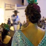 Spanish Girl Watching Horse-Back Feria Procession, Tarifa, Andalucia, Spain, Europe Reproduction photographique par Giles Bracher