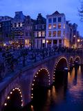 Canal and Bridge, Amsterdam, Holland, Europe Fotografisk trykk av Frank Fell