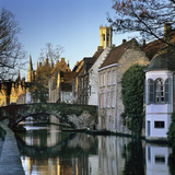 Canal View with Belfry in Winter, Bruges, West Vlaanderen (Flanders), Belgium, Europe Photographic Print by Stuart Black