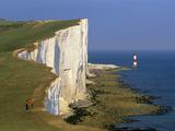 Beachy Head Lighthouse and Chalk Cliffs, Eastbourne, East Sussex, England, United Kingdom, Europe Fotografie-Druck von Stuart Black