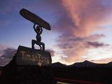 Devil Logo and Volcanoes, Parque Nacional de Timanfaya, Lanzarote, Canary Islands, Spain Photographic Print by Stuart Black