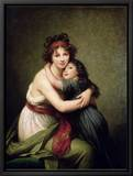 Madame Vigee-Lebrun and Her Daughter, Jeanne-Lucie-Louise (1780-1819) 1789 Reproduction sur toile encadrée par Elisabeth Louise Vigee-LeBrun