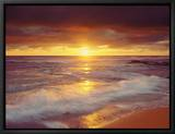 Sunset Cliffs Beach am Pazifik bei Sonnenuntergang, San Diego, Kalifornien, USA Leinwandtransfer mit Rahmung von Christopher Talbot Frank