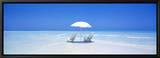 Beach, Ocean, Water, Parasol and Chairs, Maldives Innrammet lerretstrykk av Panoramic Images,
