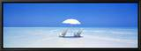Beach, Ocean, Water, Parasol and Chairs, Maldives Ingelijste canvasdruk