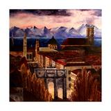 Munich with Leopoldstreet, Siegestor and Alps Poster par Markus Bleichner