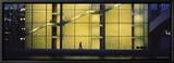 Silhouette of a Person Walking in Front of a Building, Paul Lobe Haus, Berlin, Germany Leinwandtransfer mit Rahmung