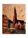 Landshut St Martin Church with Old Town Affiches par Markus Bleichner