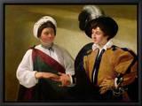 The Fortune Teller, circa 1596-97 Reproduction sur toile encadrée par  Caravaggio