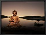 Golden Buddha Lakeside Framed Canvas Print by Jan Lakey