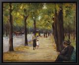 Promenade au Tiergarten, Berlin, Allemagne Reproduction sur toile encadrée par Max Liebermann