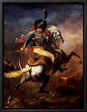 Officer of the Hussars, 1814 Inramat kanvastryck av Théodore Géricault