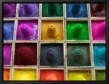 Selling Color Powder at Market, Pushkar, Rajasthan, India Reproduction sur toile encadrée par Keren Su