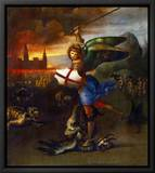 The Archangel Michael Slaying the Dragon Inramat kanvastryck av Raphael,