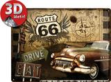Route 66 - Road Trip Plaque en métal
