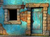 De blauwe deur Fotoprint van Philippe Sainte-Laudy
