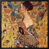 Dame med vifte Indrammet lærredstryk af Gustav Klimt