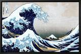 """Den store bølge ved Kanagawa, fra """"36 views of Mount Fuji"""", ca.1829 Indrammet lærredstryk af Katsushika Hokusai"""