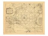 1773, Chart, West Indies, Atlantic Ocean Impressão giclée