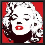 Marilyn Monroe-Red Leinwandtransfer mit Rahmung