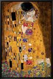 Kysset, ca. 1907 Indrammet lærredstryk af Gustav Klimt