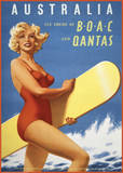 Fly to Australia by BOAC and Qantas Prints