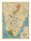 1949, Financial District and Manhattan Civic Center, New York, United States Giclée-vedos