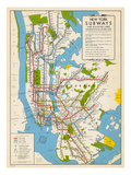 1949, New York Subway Map, New York, United States Reproduction procédé giclée