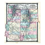 1876, County Map of Colorado, Utah, New Mexico and Arizona, United States Giclee-trykk