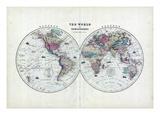 1873, The World in Hemispheres Reproduction procédé giclée