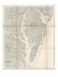 1866, Chesapeake Bay and Virginia's Eastern Shore Chart Virginia, Virginia, United States Giclee-trykk