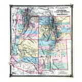 1875, Colorado, Utah, New Mexico and Arizona States Map, United States Giclee-trykk