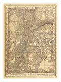 1876, Utah State Map, Utah, United States Giclee-trykk