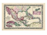 1864, Bahamas, Cuba, Dominican Republic, Honduras, Jamaica, Mexico, Puerto Rico Impressão giclée