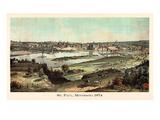 1874, St. Paul 1874 Bird's Eye View, Minnesota, United States Giclee-trykk