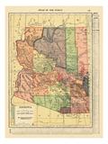 1914, Arizona State Map 1914, Arizona, United States Giclee-trykk