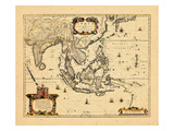 1658, Cambodia, India, Laos, Maldives, Philippines Impressão giclée
