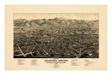1882, Colorado Springs 1882c Bird's Eye View, Colorado, United States Giclee-trykk