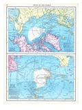 1913, North Pole, South Pole, North and South Polar Regions Giclée-tryk