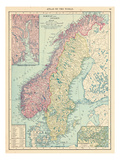 1913, Norway, Sweden, Europe, Norway and Sweden Giclée-tryk