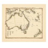 1841, Landkarte von Australien, Neuseeland Giclée-Druck