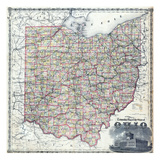 1875, Ohio Railroad and Township Map, Ohio, United States Giclee-trykk