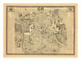 1761, antike Landkarte von Madrid, Spanien Giclée-Druck