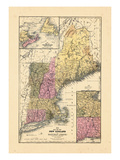 1844, New England, Connecticut, Maine, Massachusetts, New Hampshire, Rhode Island, Vermont Giclee Print