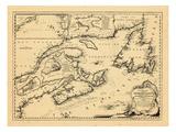 1746, antike Landkarte von New Brunswick, Neufundland und Labrador, Nova Scotia, Prinz-Edward-Insel Giclée-Druck