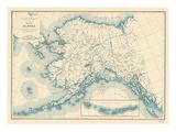 1941, Alaska State Map, Alaska, United States Giclee-trykk