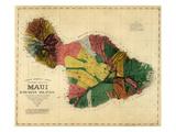 1885, Maui Island Map, Hawaii, United States Giclee-trykk