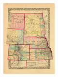 1870, Colorado, Kansas, Montana, Nebraska, North Dakota, South Dakota, Wyoming Giclee-trykk